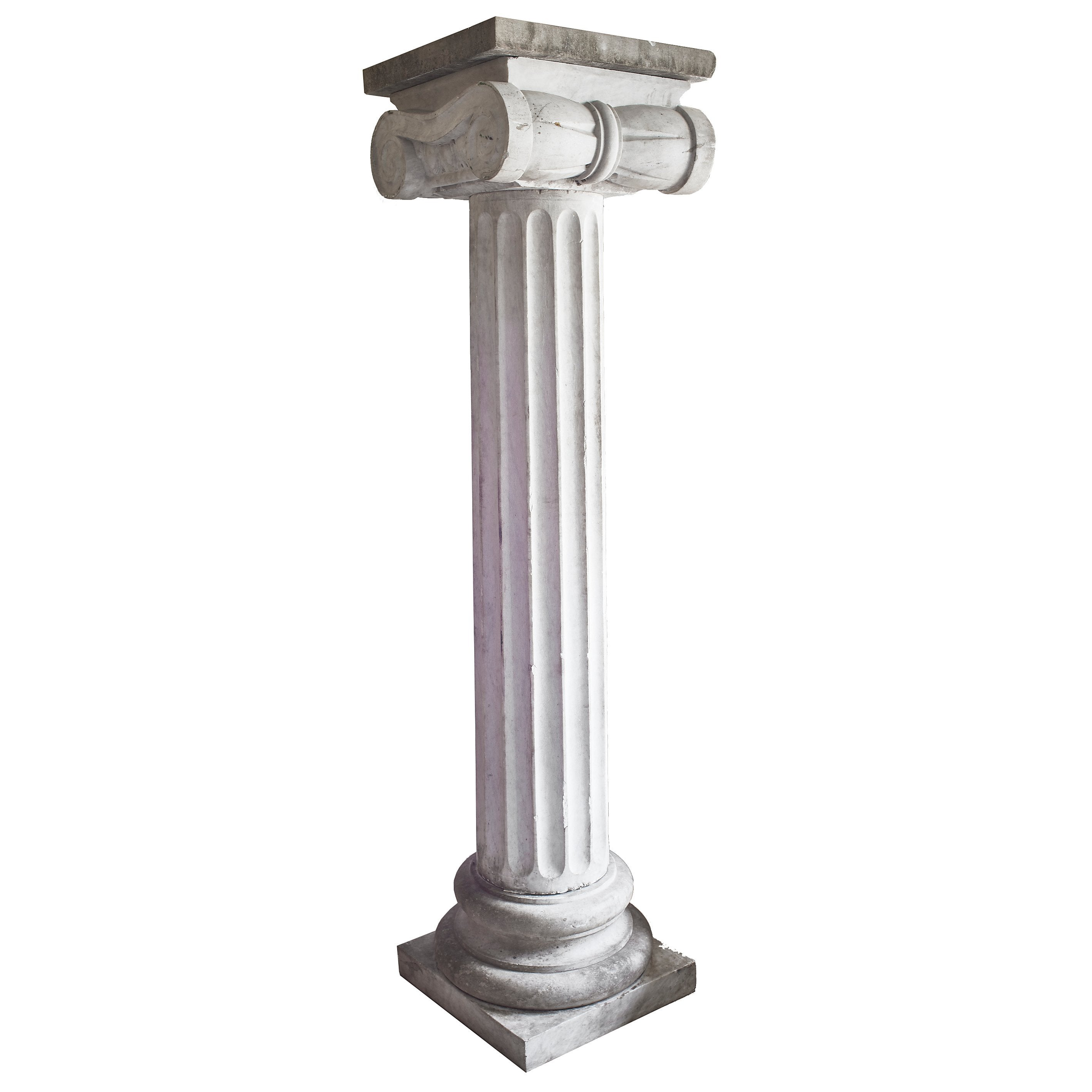 Fluted French Carrara Marble Column with Ionic Capital, circa 1890