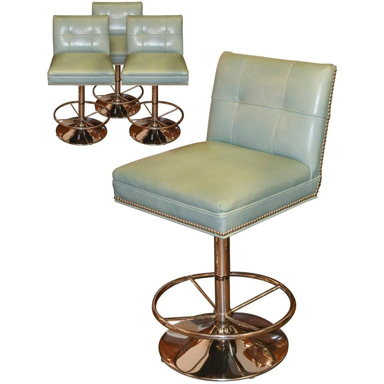 Set of Four Modern Chrome and Leather Barstools
