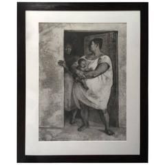 """""""Woman with Child in the Doorway"""" Lithograph by Francisco Zuniga"""