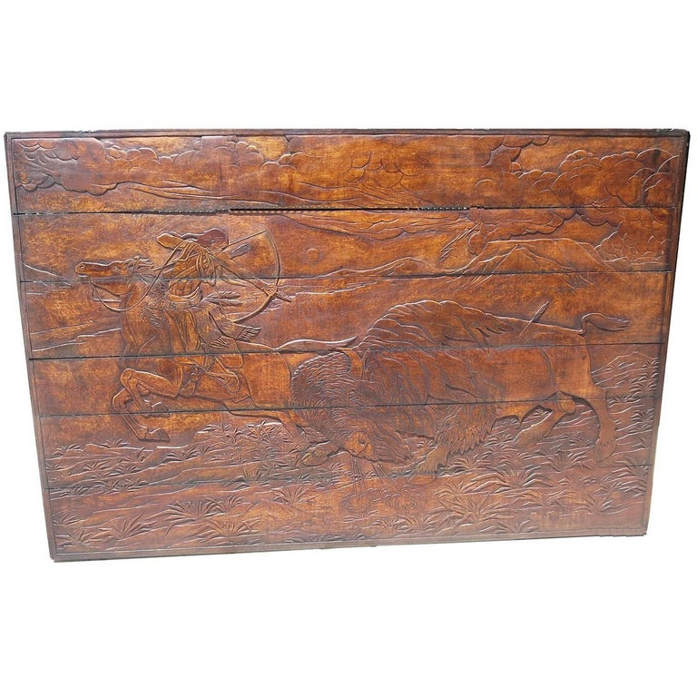 Native Hunting Buffalo Carved Wooden Wall Panel Art by Leanora Oliver Nunn For Sale