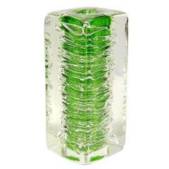 Green Art Glass Vase by František Vízner for Skrdlovice, Czech, 1968