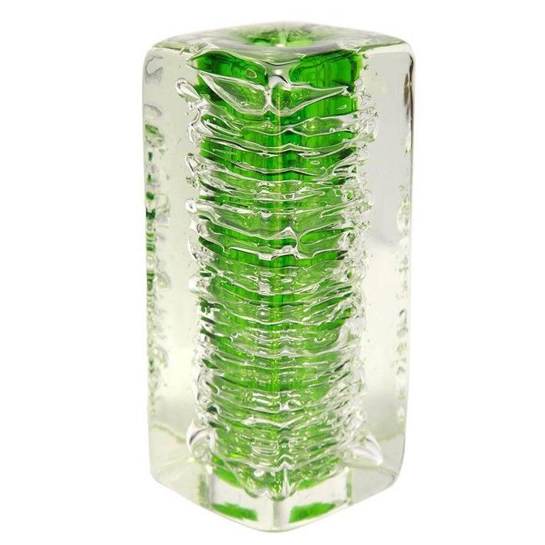 Green Art Glass Vase by František Vízner for Skrdlovice, Czech, 1968