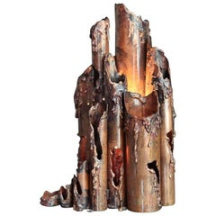 Brutalist Copper Table Lamp by Marcello Fantoni