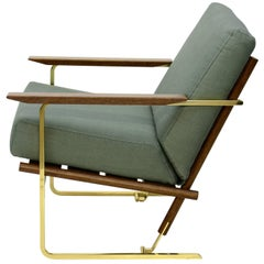 Armchair by Pedro Useche, Imbuia Wood Back, Brass Legs, Stainless Steel Frame