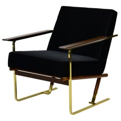 Armchair by Pedro Useche Imbuia Wood Back, Brass Legs, Black