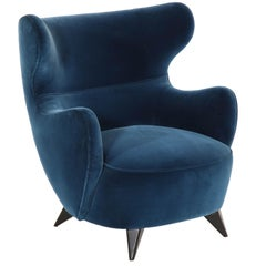 Wing Chair in Blue w/ Maple Wood Base Offered by Vladimir Kagan Design Group