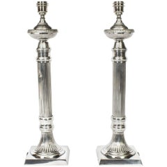 Pair of Silver Plated Fluted Column Table Lamps