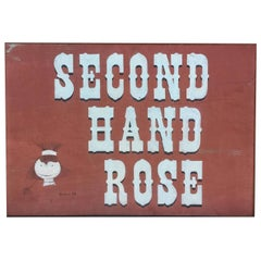 "Midcentury Hand-Painted Wooden Sign ""Second Hand Rose"", circa 1969"