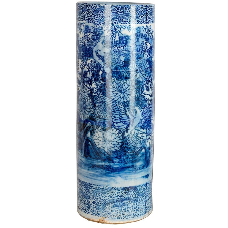 Anese Blue And White Umbrella Stand For