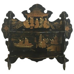 19th Century Asian Lacquered and Gilt Wall Shelf with an Ornate Pagoda Motif