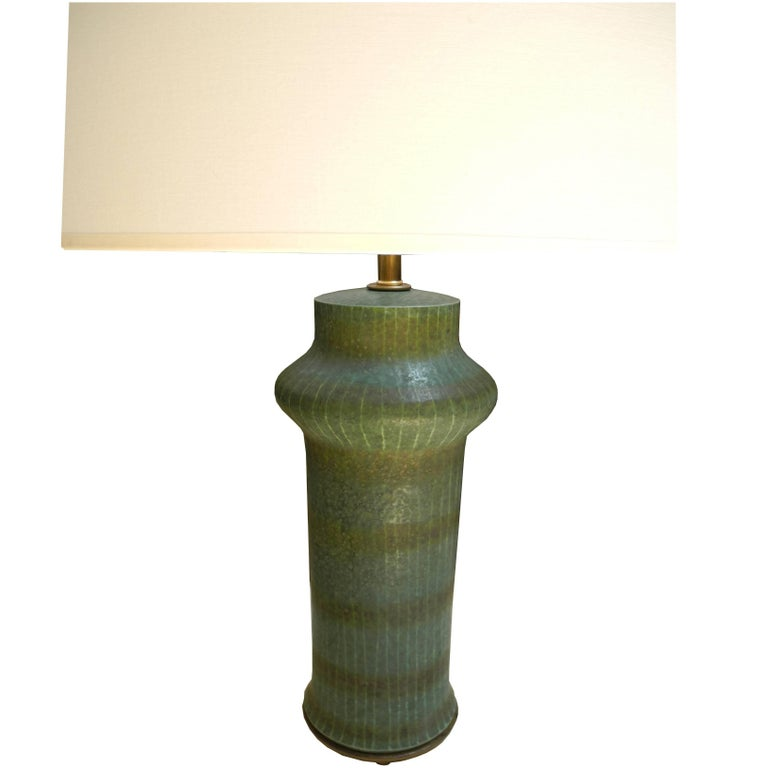 1950s Modern Asian Vessel Style Italian Ceramic Green Table Lamp For Sale