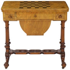 Early Victorian Figured Walnut Flip Top Games and Work Table, circa 1860-1880