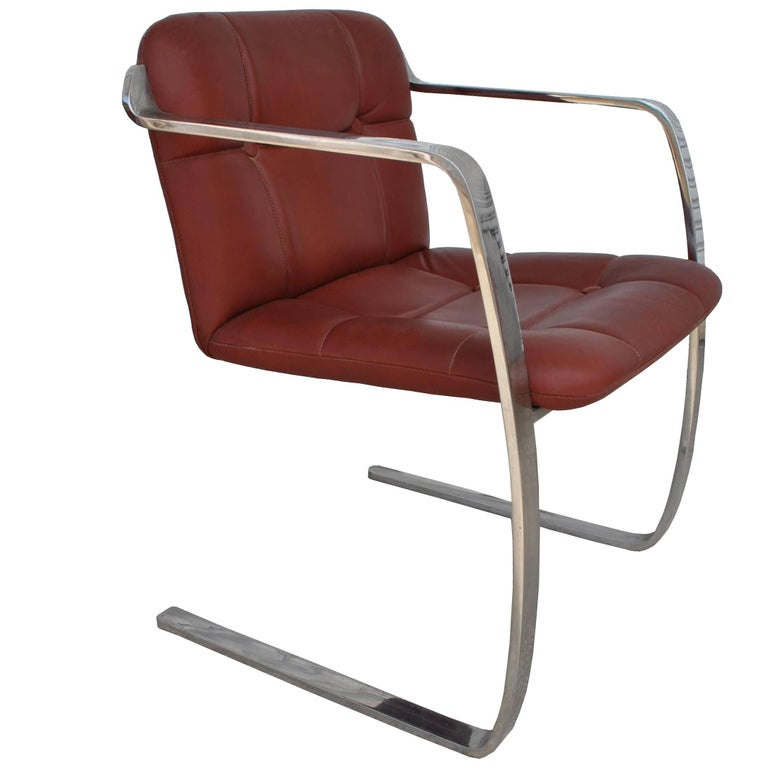 Two Midcentury Cumberland Stainless Steel and Leather Armchairs For Sale