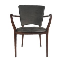 Bert England for Widdicomb Desk/ Armchair in Grey Velvet with Tufting