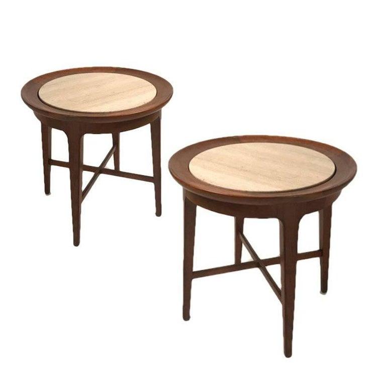Midcentury Modern Travertine & Walnut Round End Tables or Stands Van Koert, Pair