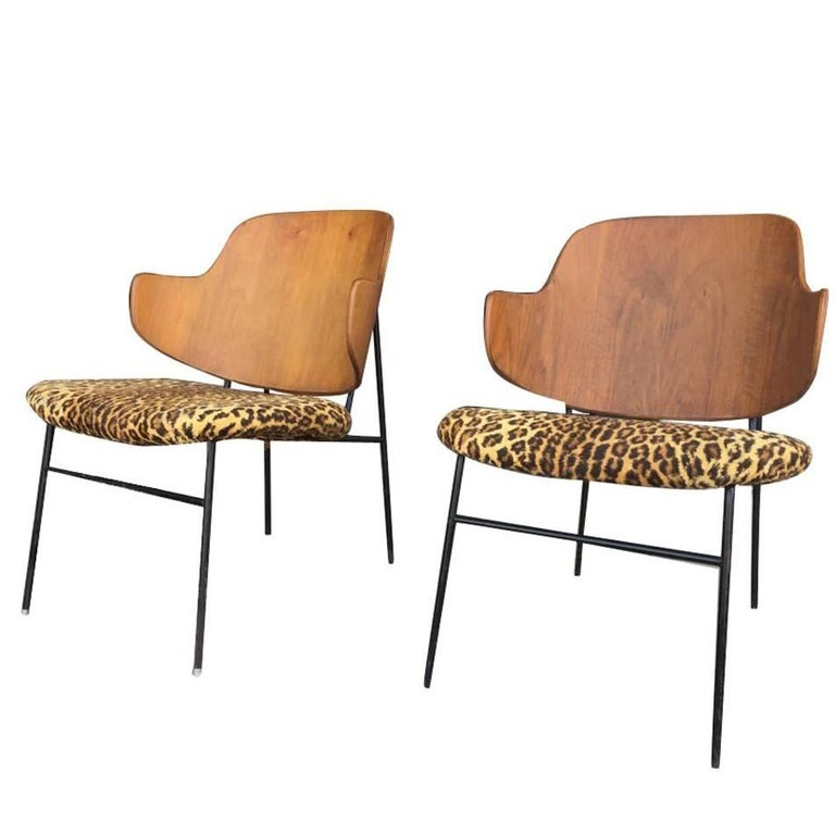 Two Vintage Danish Larsen Kofod Penguin Lounge Chairs For Sale
