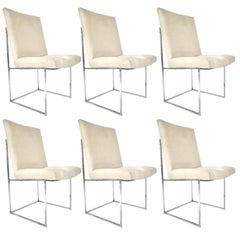 Milo Baughman for Thayer Coggin Chrome Framed Dining Chairs w Ultrasuede
