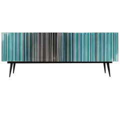 Retro Style Buffet Credenza, Barcode Design in Colored Glass, Black in Turquoise