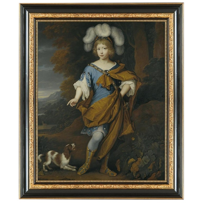Young Boy in Festive Costume, after Oil Painting by Baroque Revival Artist