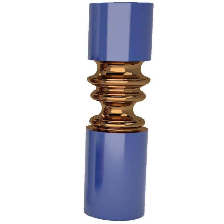 Ordini Narrow Vase with Cabadt Blue and Bronze Color by Analogia Project