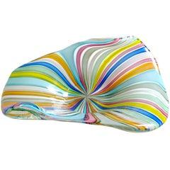 Fratelli Toso Murano Rainbow Colors Filigrana Ribbons Italian Art Glass Bowl