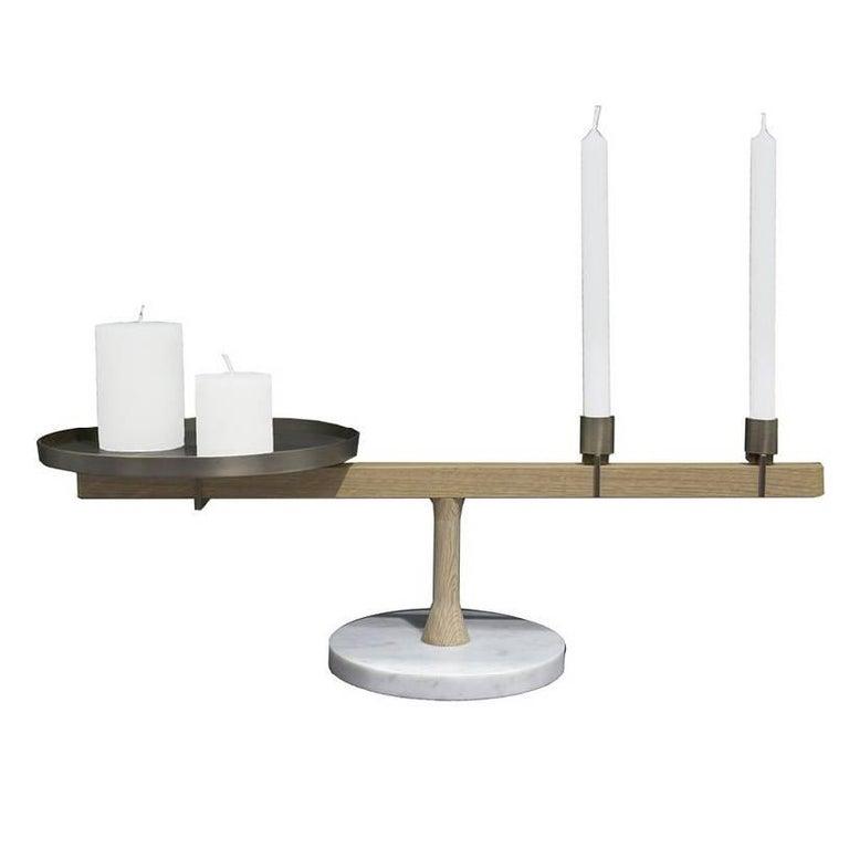 Balance 3 Candleholder in White Carrara Marble, Oak and Brass by Neri & Hu