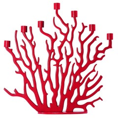 Tenochititlan Large Red Cast Aluminium Candleholder by Laudani & Romanelli