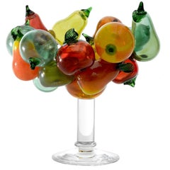 Orfeo Large Glass Bowl with Multicolored Fruit Detail by Borek Sipek for Driade