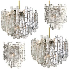 Set of Four J.T. Kalmar Ice Glass Light Fixtures by J.T. Kalmar, Austria, 1970s