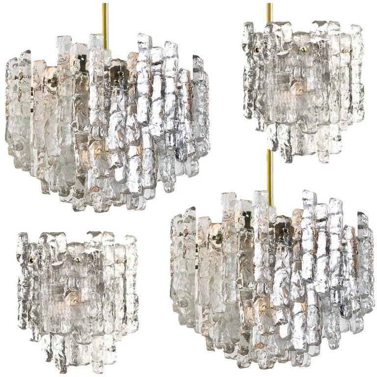 Set of Four J.T. Kalmar Ice Glass Light Fixtures by J.T. Kalmar, Austria, 1970s