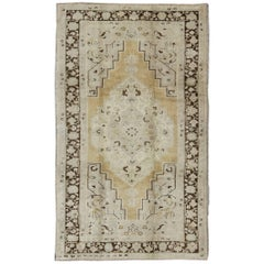 Turkish Oushak Rug in Pale Yellow, Taupe and Brown Border