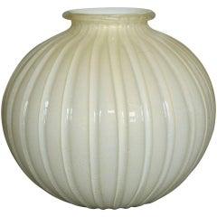 Large Spherical Ribbed Murano Vase