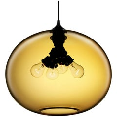 Terra Amber Handblown Modern Glass Pendant Light, Made in the USA