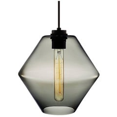 Trove Gray Handblown Modern Glass Pendant Light, Made in the USA
