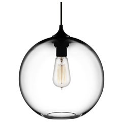 Solitaire Crystal Handblown Modern Glass Pendant Light, Made in the USA