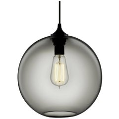 Solitaire Gray Handblown Modern Glass Pendant Light, Made in the USA