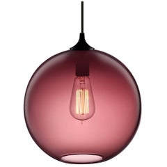 Solitaire Plum Handblown Modern Glass Pendant Light, Made in the USA