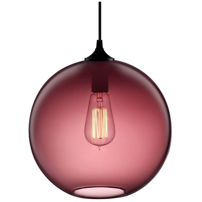 Solitaire Plum Handn Modern Gl Pendant Light Made In The Usa For