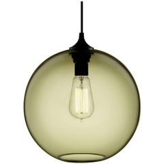 Solitaire Smoke Handblown Modern Glass Pendant Light, Made in the USA