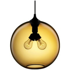 Binary Amber Handblown Modern Glass Pendant Light, Made in the USA