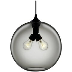 Binary Gray Handblown Modern Glass Pendant Light, Made in the USA