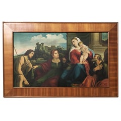 20th Century Italian Oil Painting with Art Deco Frame by Giuseppe Mazzoni