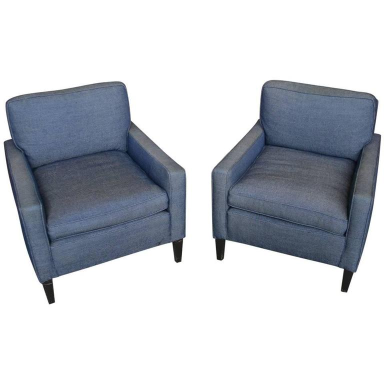 American 1940s Pair of Armchairs and Ottoman