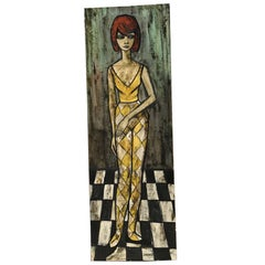 Original 1960s Painting on Canvas of French Woman by Villard Aka Charles Levier