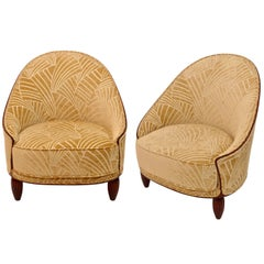 Pair of Tall French Art Deco Salon Chairs with Rounded Backs