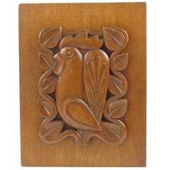 1950s Mid-Century Modern Wooden Wall Art Sculpture Panel Rooster Design