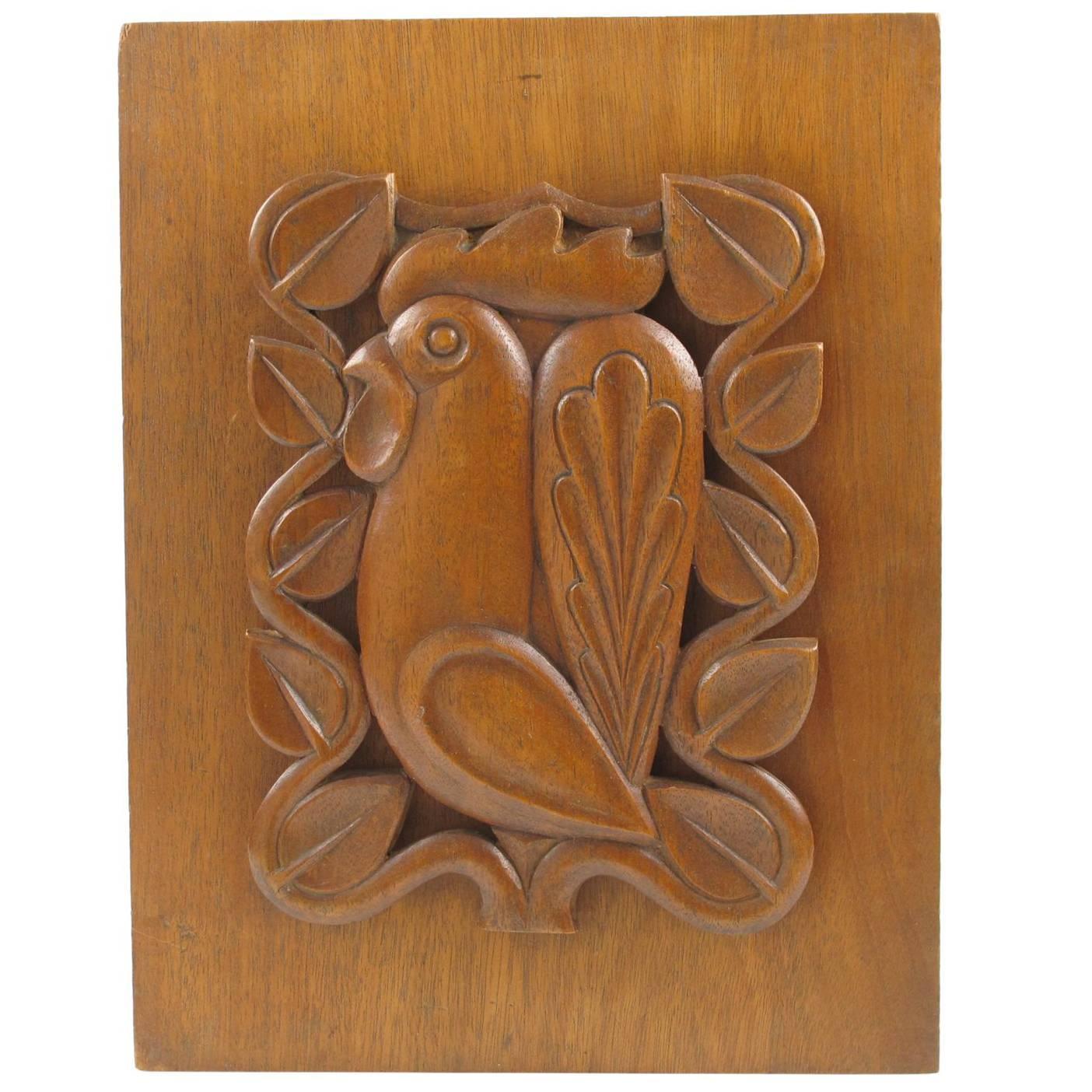 1950s Mid Century Modern Wooden Wall Art Sculpture Panel Rooster Design