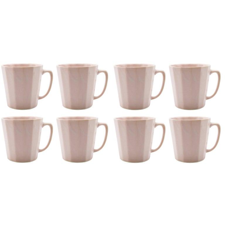 Monday Mug Sundog Pink and Silk White Matte Set of Eight Coffee Mugs