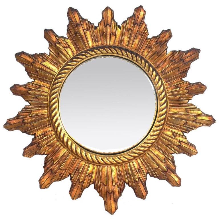 Vintage French Gilt Convex Sunburst Mirror