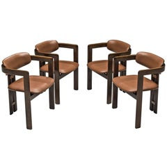 Augosto Savini Set of Four 'Pamplona' Chairs with Original Cognac Leather